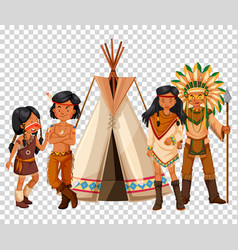 Native american family and teepee vector