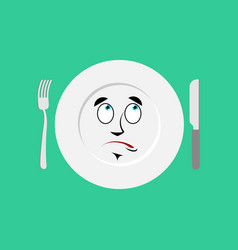 plate surprised emoji empty dish isolated vector image vector image