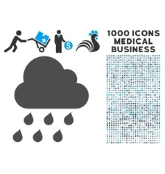 Rain Cloud Icon with 1000 Medical Business Symbols vector image