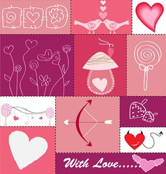 Set of Hearts and Love Icons vector image vector image