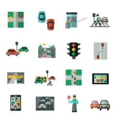 Traffic Icons Flat Set vector image