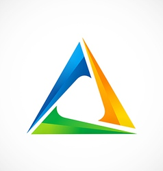 Triangle 3d abstract color logo vector