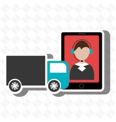 Truck delivery shipping market vector