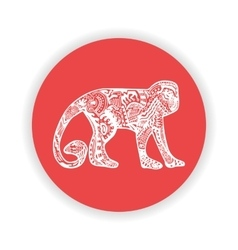 White monkey with hand-drawn pattern on red vector