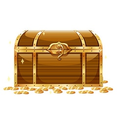 Wooden chest and golden coins vector image vector image