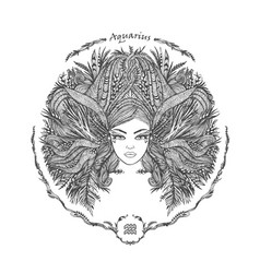 zodiac sign portrait of a woman aquarius vector image