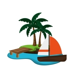 Tropical island and sail boat icon vector
