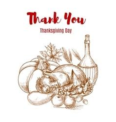 Thanksgiving autumn harvest sketch decoration vector image
