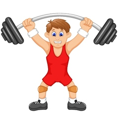 Cute man athlete doing weightlifter vector