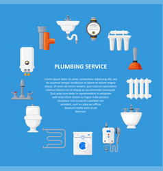 Plumbing services template in a flat style vector