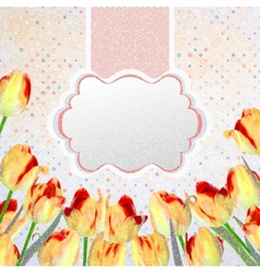 Vintage tulips postcard with flowers eps 10 vector