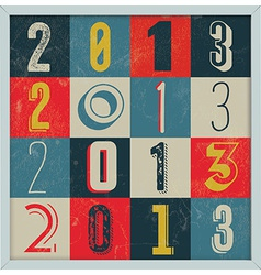 Colorful retro vintage 2013 new year vector