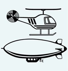Helicopter and dirigible vector