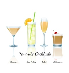 Favorite cocktails set isolated vector