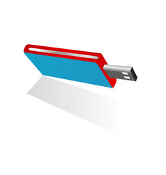 3d blue usb flash disk with red and silver side vector image