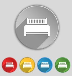 Hotel bed icon sign symbol on five flat buttons vector