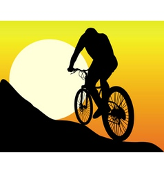 Silhouette of a mountain biker vector