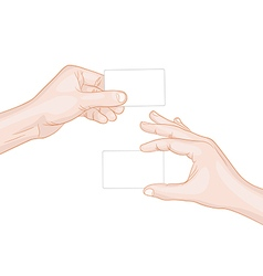 Man hands holding a blank cards vector