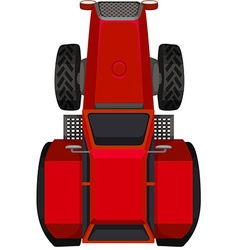 Top view of red tractor vector