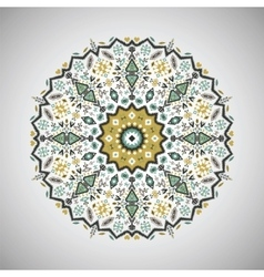 Ornamental round geometric pattern in aztec style vector