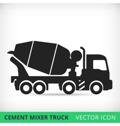 Cement mixers truck flat icon vector