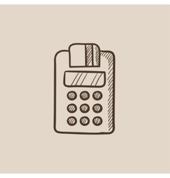 Cash register sketch icon vector