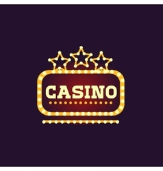Yellow casino square neon sign vector