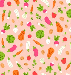 Vegetables pattern on peach background vector