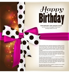 Happy birthday greeting card pink bow and ribbon vector