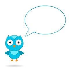 Blue bird with a speech bubble vector
