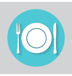 Dish fork and knife icon vector