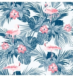 Indigo tropical summer seamless pattern with vector