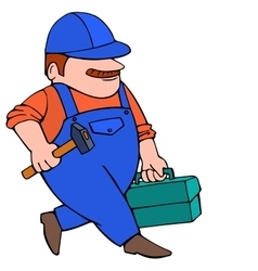 Worker in cap going with hammer and tool box vector