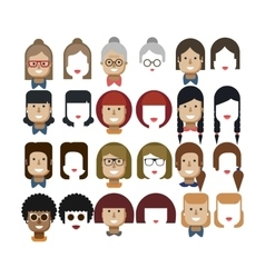 Set avatars female faces design vector