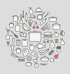 Kitchen tools and meal silhouette icons circle vector image