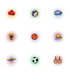 Accessories for training icons set pop-art style vector image