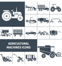 Agricultural machinery black white icons set vector