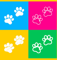 Animal tracks sign four styles of icon on four vector