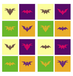 Assembly flat icons halloween bat vector