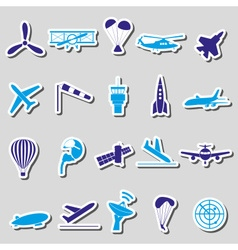 Aviation big set of simple blue stickers eps10 vector