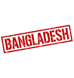 Bangladesh red square stamp vector