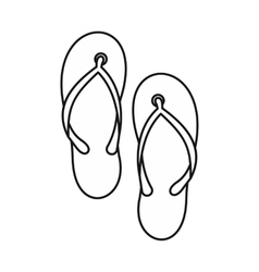 Beach thongs icon outline style vector image