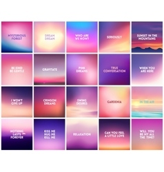 BIG set of 20 square blurred nature purple pink vector image