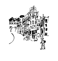 Black and white sketch hand drawing of rome italy vector