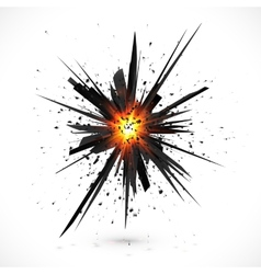 Black isolated explosion with particles vector image