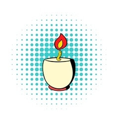 Candle in a candlestick icon comics style vector