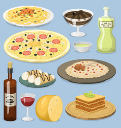 Cartoon italy food cuisine homemade cooking fresh vector