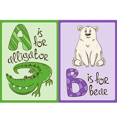 Children alphabet with funny animals alligator and vector