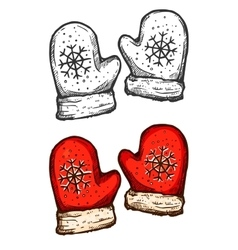 Christmas mittens isolated sketch vector image