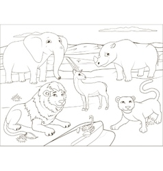 Coloring book educational game for children vector